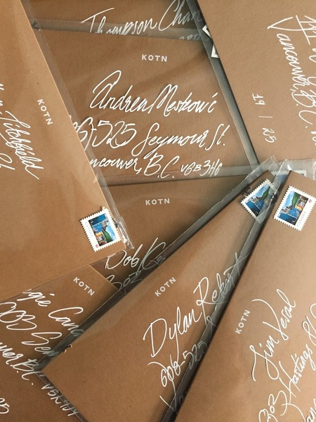 Soy-based ink, compostable transparent envelope and FSC-certified contents