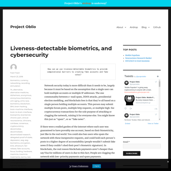 How can we use liveness-detectable biometrics to provide computational barriers to creating fake accounts and fake votes? Network security today is more difficult than it needs to be, largely because it must be based on the assumption that a single user can hold multiple accounts or multiple IP addresses.