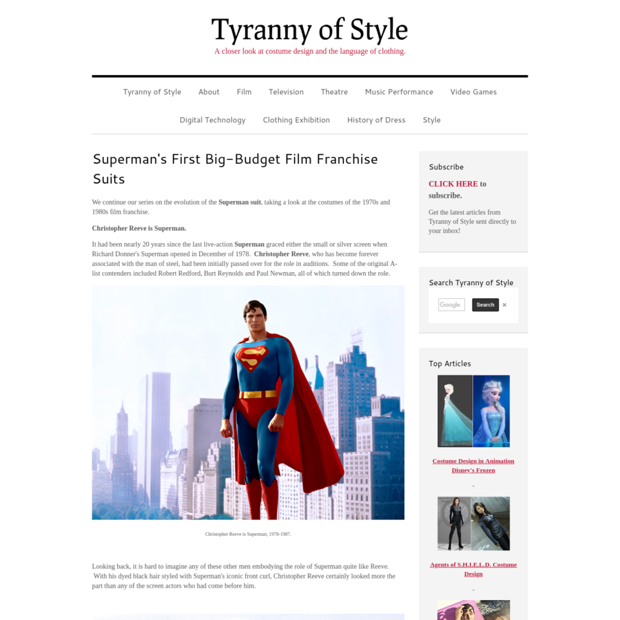 Tyranny Of Style publishes articles on costume design and the language of clothing, including film, television, theatre, theme parks, video games, and 3D printing. Content by Joe Kucharski- costume designer, assistant professor, writer.