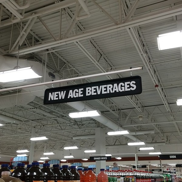 New Age Beverages aisle in supermarket, Upstate NY 2014. #newage #beverage #marketing #sign #signage #bottle #supermarket #aisle #nyc #2014