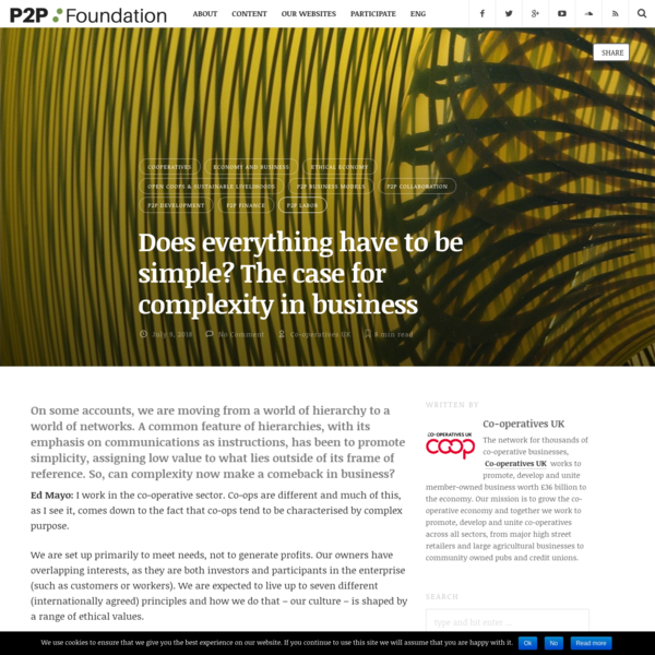 Does everything have to be simple? The case for complexity in business | P2P Foundation
