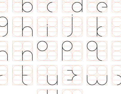 a small type set created using a circular grid as a construction tool for each character.