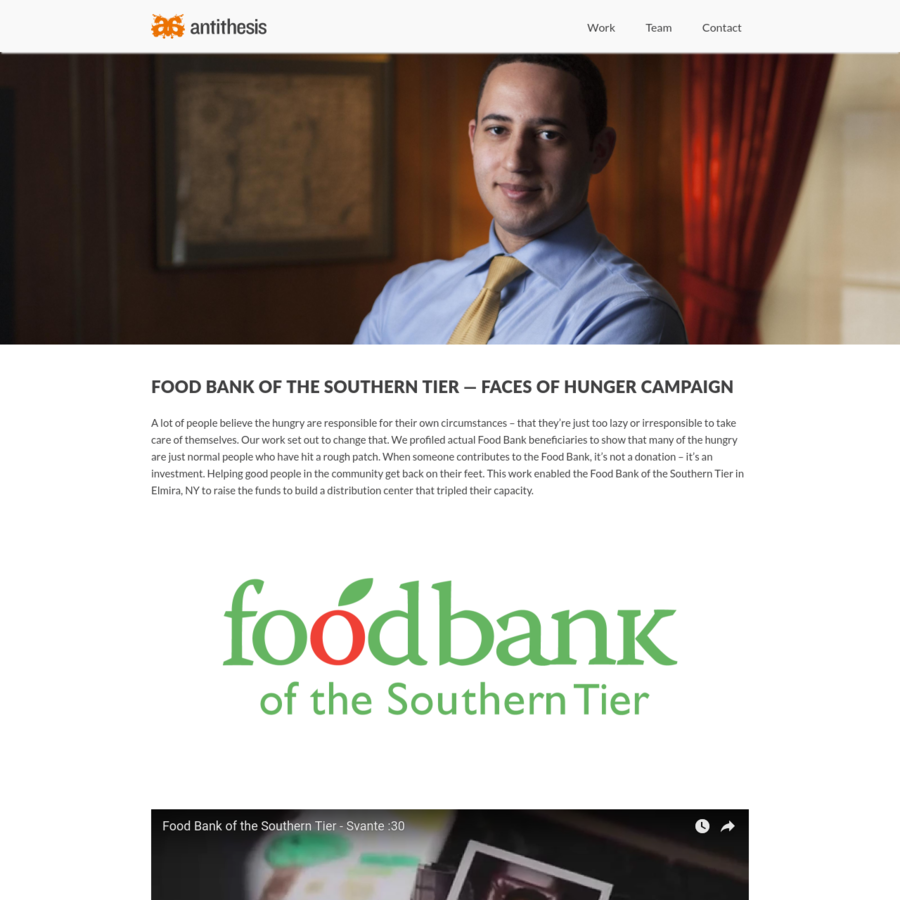 A lot of people believe the hungry are responsible for their own circumstances - that they're just too lazy or irresponsible to take care of themselves. Our work set out to change that. We profiled actual Food Bank beneficiaries to show that many of the hungry are just normal people who have hit a rough...
