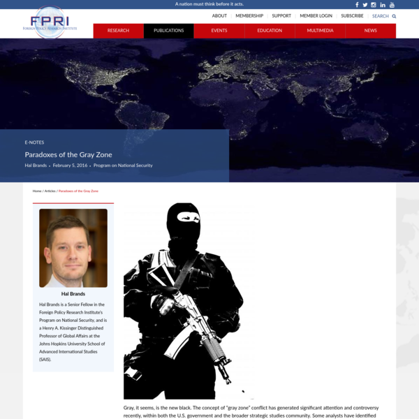Paradoxes of the Gray Zone - Foreign Policy Research Institute