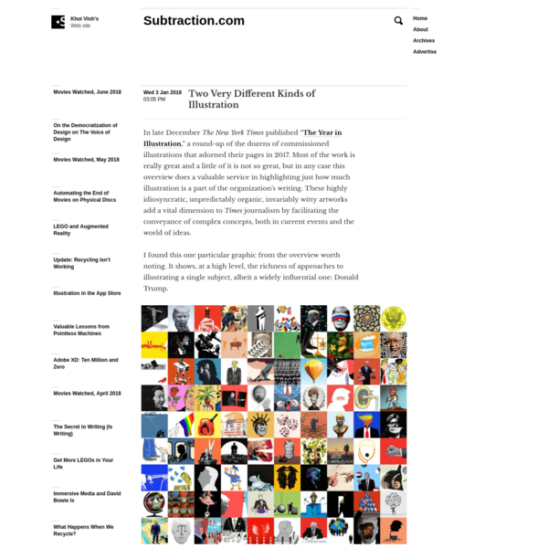 """In late December The New York Times published """" The Year in Illustration,"""" a round-up of the dozens of commissioned illustrations that adorned their pages in 2017. Most of the work is really great and a little of it is not so great, but in any case this overview does a valuable service in highlighting just how much illustration is a part of the organization's writing."""
