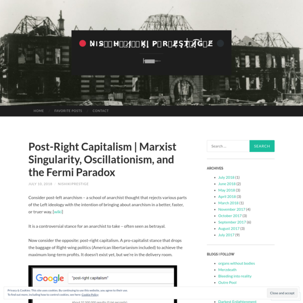 Consider post-left anarchism - a school of anarchist thought that rejects various parts of the Left ideology with the intention of bringing about anarchism in a better, faster, or truer way. [wiki] It is a controversial stance for an anarchist to take - often seen as betrayal. Now consider the opposite: post-right capitalism.