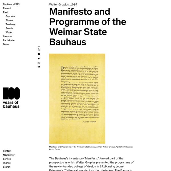 Manifesto and Programme of the Weimar State Bauhaus : Bauhaus100
