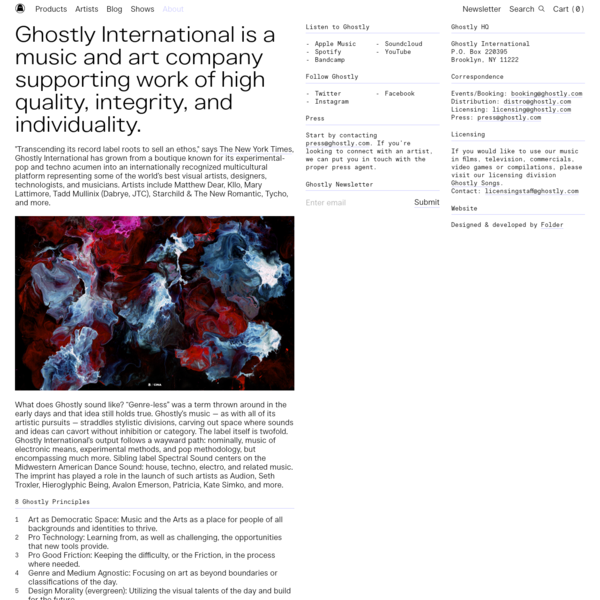 "Ghostly International is a music and art company supporting work of high quality, integrity, and individuality. ""Transcending its record label roots to sell an ethos,"" says The New York Times, Ghostly International has grown from..."