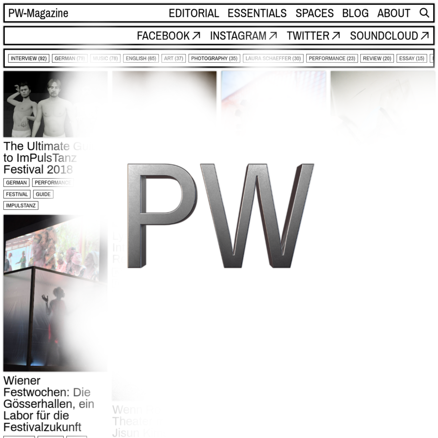 PW-Magazine is a Vienna-based online magazine for contemporary culture. By giving voice to a wide array of cutting-edge personas in art and culture, the magazine promotes diversity and a broad mix of artistic expression.
