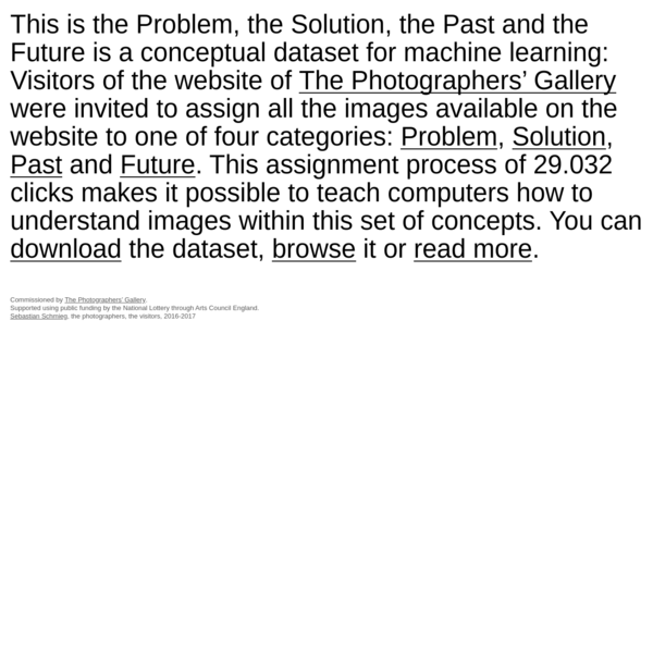 This is the Problem, the Solution, the Past and the Future is a conceptual dataset for machine learning