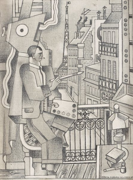 DRAWING FOR 'THE PAINTER, 1923. Gösta Adrian-Nilsson.