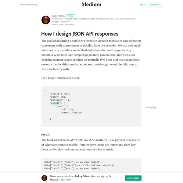 How I design JSON API responses - Andrey Petrov - Medium