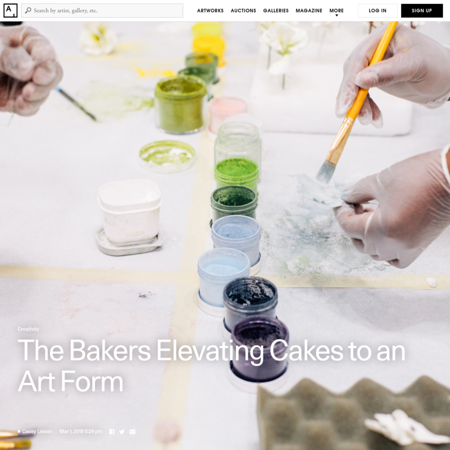 Cover image: Specialists at Madison Lee's Cakes studio paint food coloring onto sugar flowers. Courtesy of Madison Lee's Cakes. Photo by Samantha Margalit of Samantha Lauren Photographie.