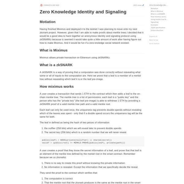 Zero Knowledge Identity and Signaling - HackMD