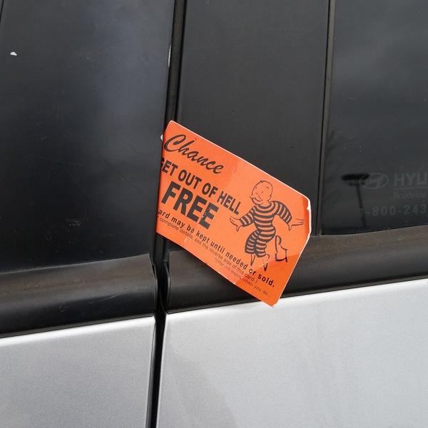 Religious propaganda in car door at Trader Joe's