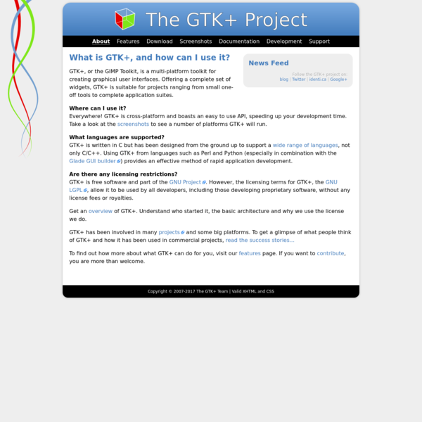 GTK+ is a highly usable, feature rich toolkit for creating graphical user interfaces which boasts cross platform compatibility and an easy to use API. GTK+ is licensed under the GNU LGPL 2.1 allowing development of both free and proprietary software with GTK+ without any license fees or royalties.