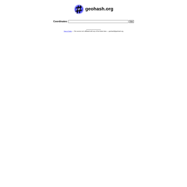 Geohash is a short URL service for linking to a location on the Earth. Geohashes are created via address geocoding or latitude and longitude pairs.