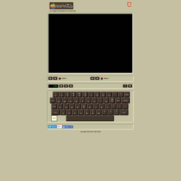 Apple ][js is an Apple ][ emulator written using only JavaScript and HTML5. It has color display, sound and disk support. It works best in the Chrome and Safari browsers.