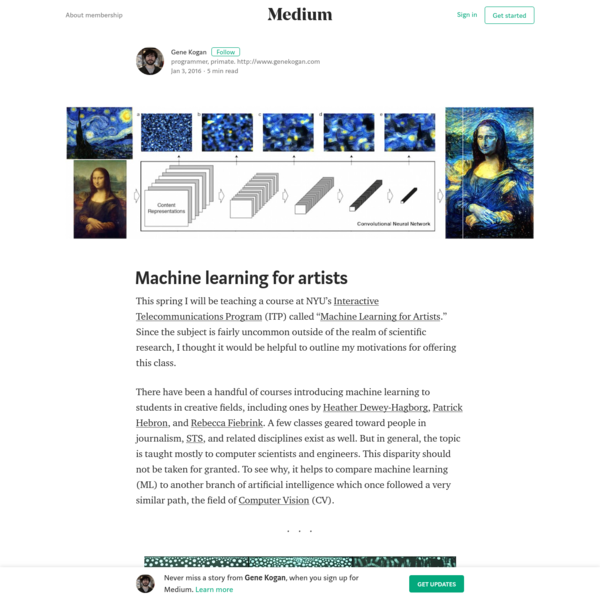 """This spring I will be teaching a course at NYU's Interactive Telecommunications Program (ITP) called """" Machine Learning for Artists."""" Since the subject is fairly uncommon outside of the realm of scientific research, I thought it would be helpful to outline my motivations for offering this class."""