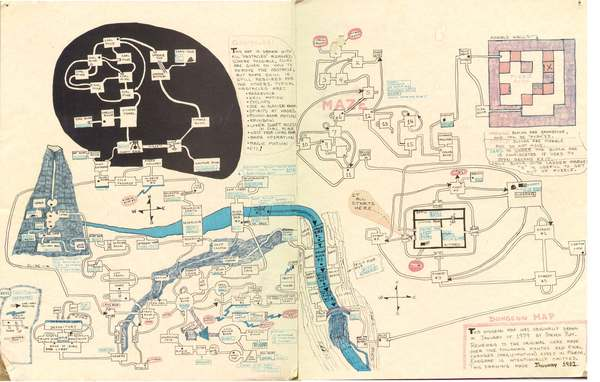 """A map of the original ZORK I. Drawn around 1981 by Steven Roy, this detailed image provides a guide to the user."" (via notgames)"