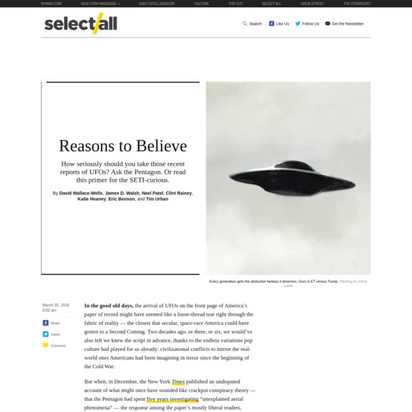 In the good old days, the arrival of UFOs on the front page of America's paper of record might have seemed like a loose-thread tear right through the fabric of reality - the closest that secular, space-race America could have gotten to a Second Coming.