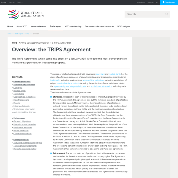 WTO | intellectual property - overview of TRIPS Agreement