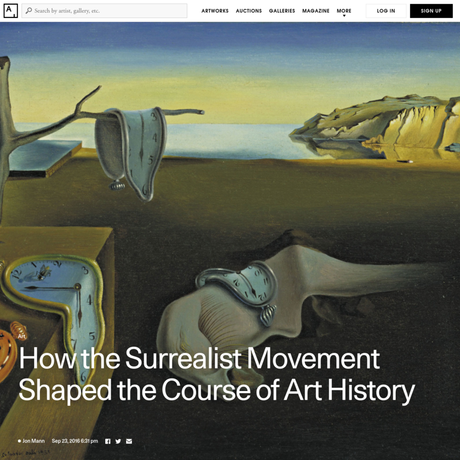Header image: Salvador Dalí, The Persistence of Memory, 1931. © Salvador Dalí, Fundació Gala-Salvador Dalí, Artists Rights Society (ARS), New York 2016. Image courtesy of the Museum of Modern Art. Photographs of Joan Miró and Max Ernst via Wikimedia Commons.