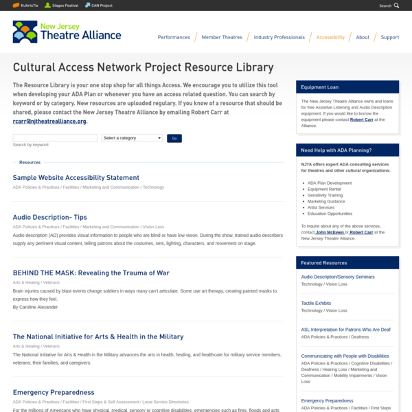 Cultural Access Network Project Resource Library
