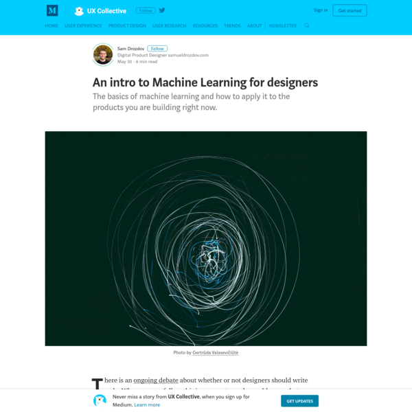 An intro to Machine Learning for designers - UX Collective