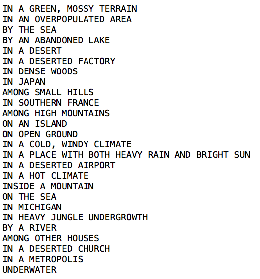 Possible locations included in _A House of Dust_, listed in the order in which they appear in [Nick Montfort's 2014 translation](http://nickm.com/memslam/a_house_of_dust.html).  Knowles, Alison and Tenney, James, _A House of Dust_ (New York: Verlag Gebr. Kölnig Köln, 1967).