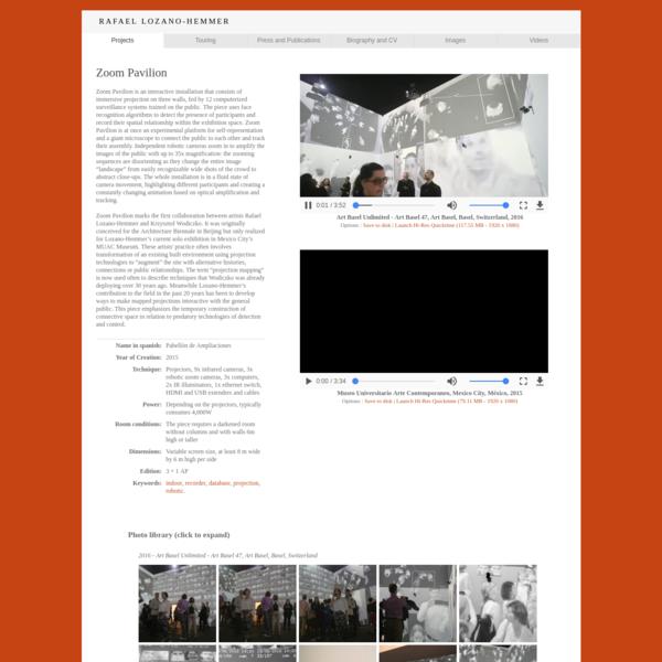 "Rafael Lozano-Hemmer - Project ""Zoom Pavilion"""