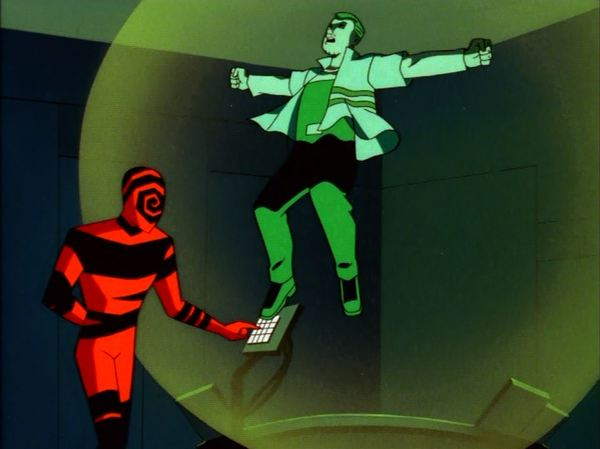 "*Batman Beyond* ca.1999  Disgruntled high school psychologist turned mind-controlling criminal.   Spellbinder uses a large floating ""eyeball"" to project images into the minds of others using hypnosis. Gets teens addicted to underground VR pods...  http://dcau.wikia.com/wiki/Spellbinder"