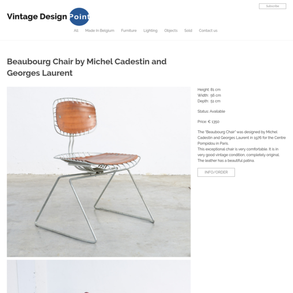 """Height: 81 cm Width: 56 cm Depth: 51 cm Status: Available Price: € 1350 The """"Beaubourg Chair"""" was designed by Michel Cadestin and Georges Laurent in 1976 for the Centre Pompidou in Paris. This exceptional chair is very comfortable. It is in very good vintage condition, completely original."""
