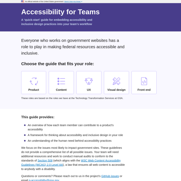 Guidelines to help teams create accessible products and services