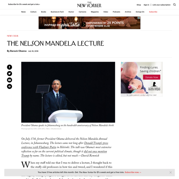 The Nelson Mandela Lecture