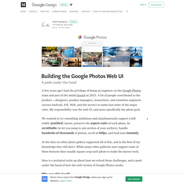 A few years ago I had the privilege of being an engineer on the Google Photos team and part of the initial launch in 2015. A lot of people contributed to the product-designers, product managers, researchers, and countless engineers (across Android, iOS, Web, and the server) to name just some of the major roles.