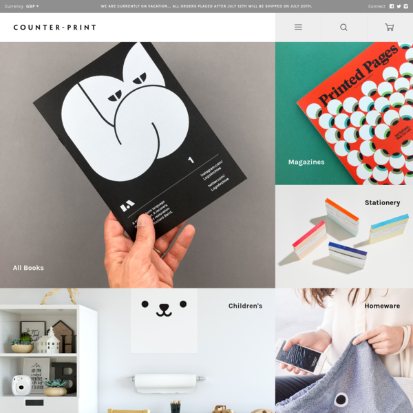 Counter-Print is an online book and stationery store, selling new and vintage art, design, illustration, kids, lifestyle books and office supplies.