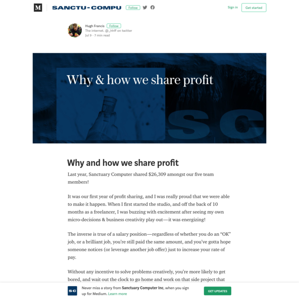Why and how we share profit - Sanctuary Computer Inc - Medium