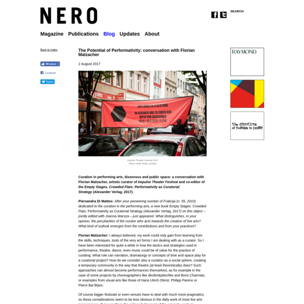 "NERO MAGAZINE "" The Potential of Performativity: conversation with Florian Malzacher"