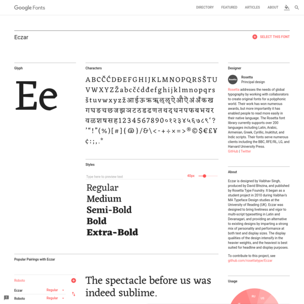 Eczar - Google Fonts