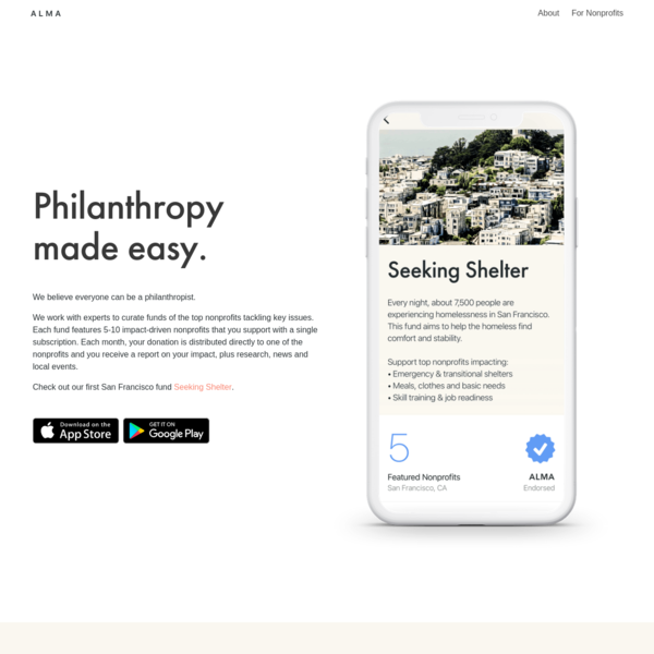 ALMA: Philanthropy made easy