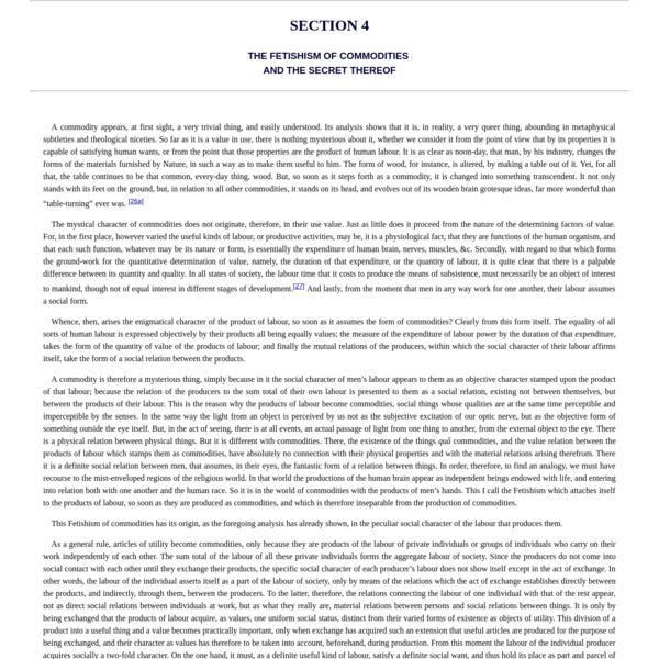 Economic Manuscripts: Capital Vol. I - Chapter One
