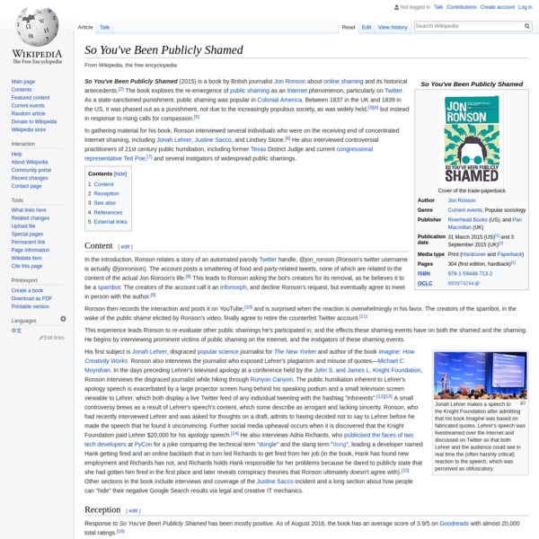 So You've Been Publicly Shamed - Wikipedia