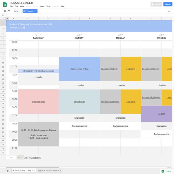 HDSA2018-Schedule