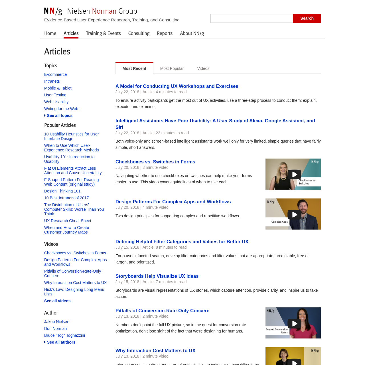 Are na / UX & Usability Articles from Nielsen Norman Group