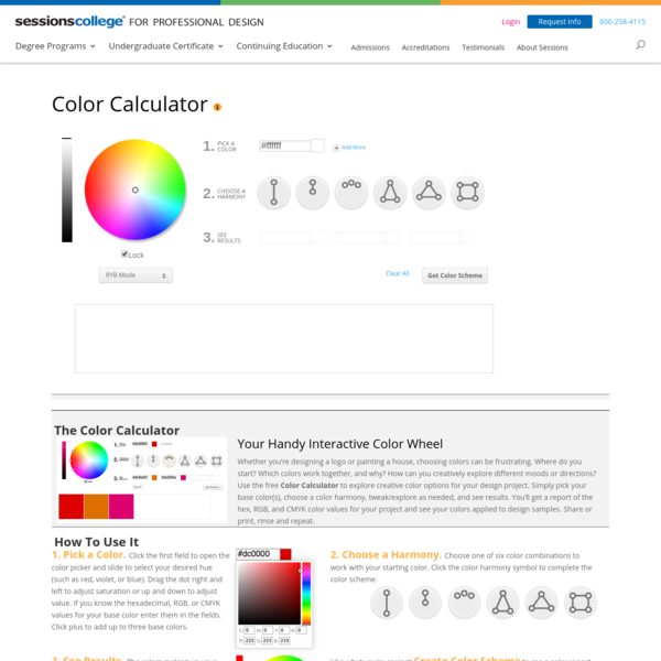 Color Wheel - Color Calculator | Sessions College