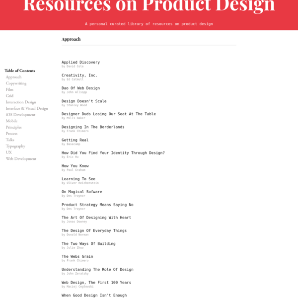Resources on Product Design