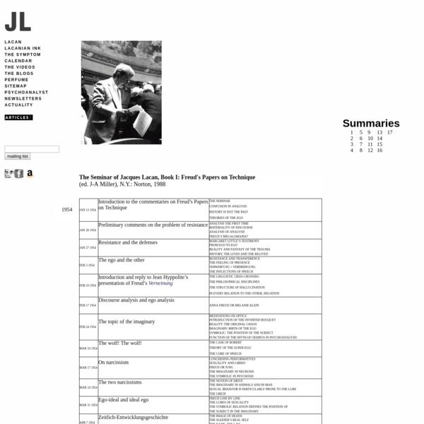 SEMINARS OF JACQUES LACAN - CONTENTS