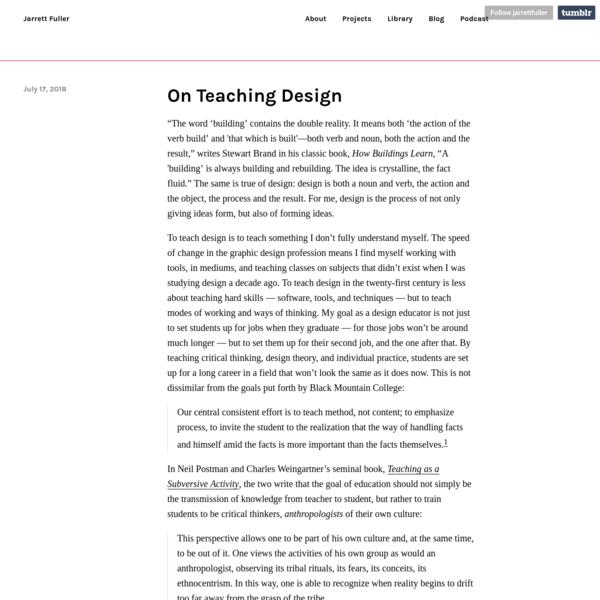 On Teaching Design