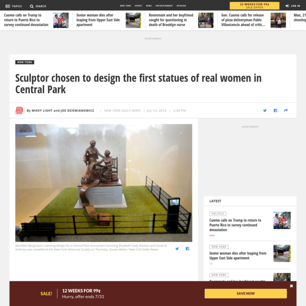 Sculptor chosen to design the first statues of real women in Central Park - NY Daily News